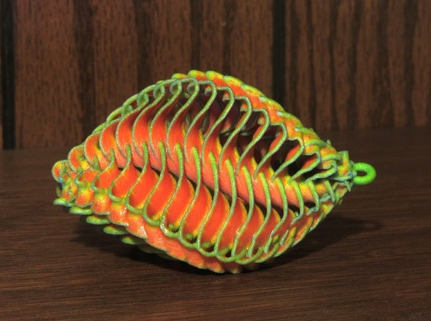 Mathematical Mollusca -  Orange/Green Ornament  in White Natural Versatile Plastic