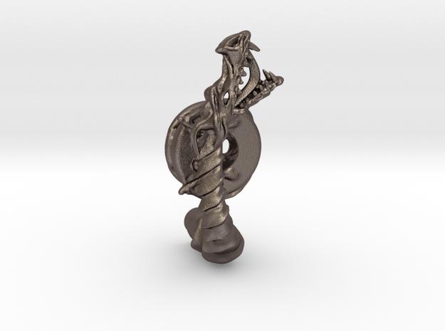 Dragon doorhandle 005 in Polished Bronzed Silver Steel