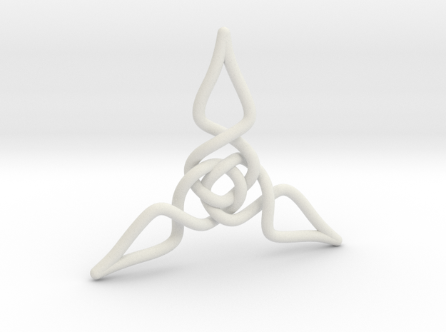 Triquetra Pendant 1 in White Natural Versatile Plastic