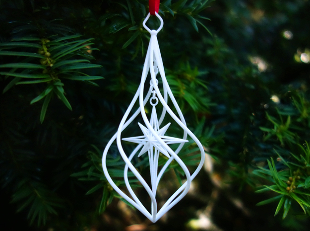 Christmas Tree Ornament (Bauble) - North Star in White Processed Versatile Plastic