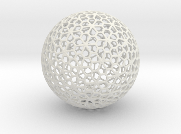 Floral Pattern Sphere in White Natural Versatile Plastic