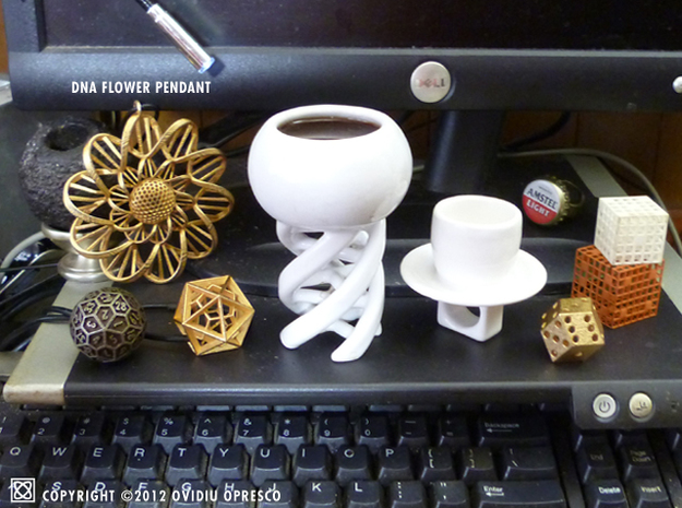 """""""Drink to Your DNA!"""" - Espresso & Sake Tower Cup 3d printed 3d Printed in Glazed Ceramics"""