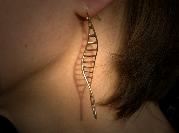DNA Leaf Earrings in Natural Bronze
