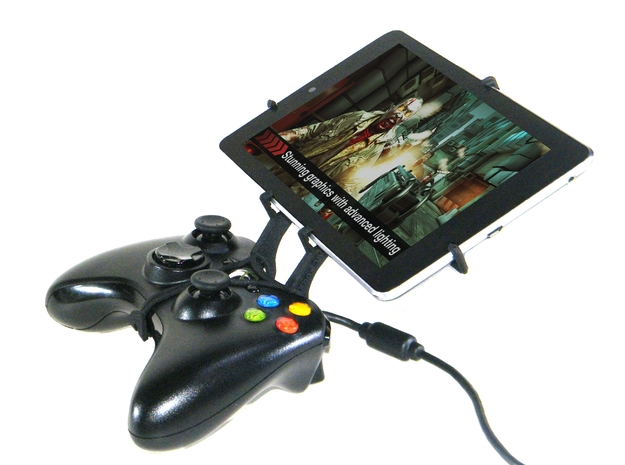 Xbox 360 controller & Asus Transformer Pad TF300TG 3d printed Side View - A Nexus 7 and a black Xbox 360 controller