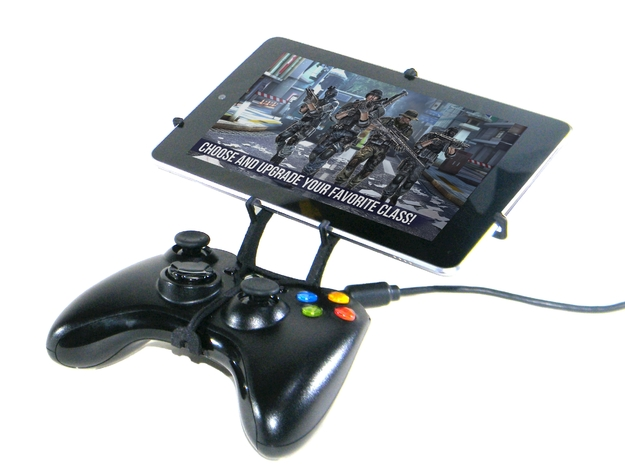 Xbox 360 controller & Asus Fonepad 3d printed Front View - A Nexus 7 and a black Xbox 360 controller