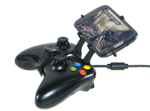 Xbox 360 controller & BLU Quattro 5.7 HD 3d printed Side View - A Samsung Galaxy S3 and a black Xbox 360 controller