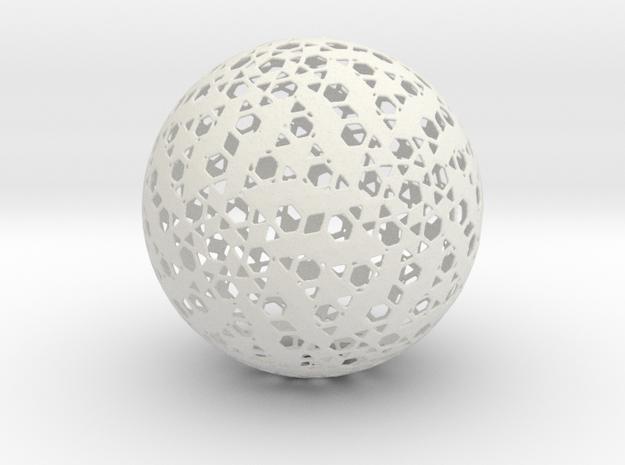 HexPent Sphere in White Natural Versatile Plastic