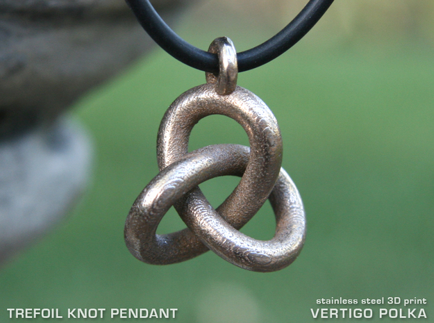 Trefoil Knot Pendant in Polished Bronzed Silver Steel
