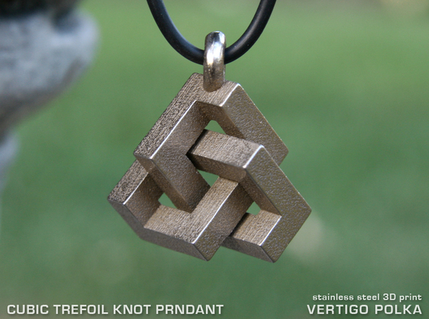 Cubic Trefoil Knot Pendant in Polished Bronzed Silver Steel