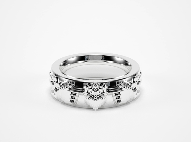 8-bit Claddagh Ring in Natural Silver: 5.5 / 50.25