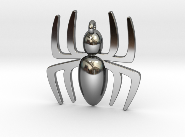 Spider Pendant in Fine Detail Polished Silver