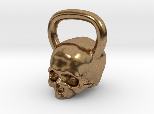 Kettlebell Skull Pendant .75 Scale in Natural Brass