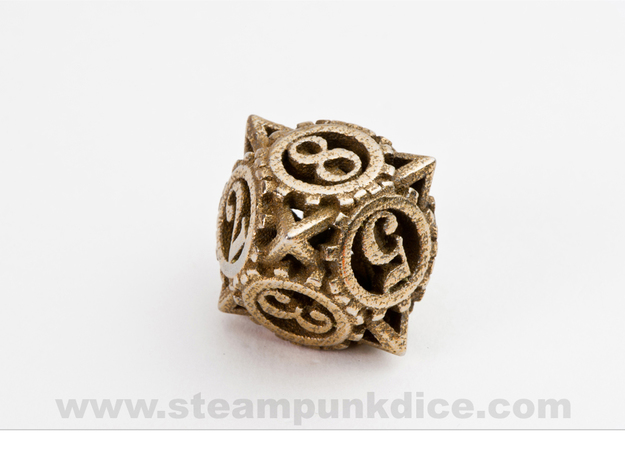 Steampunk Gear d8 in Polished Bronzed Silver Steel