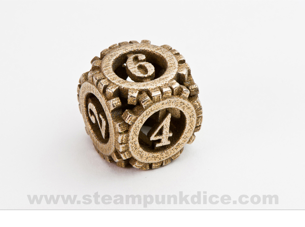 Steampunk Gear d6 in Polished Bronzed Silver Steel
