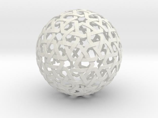 Star Weave Sphere in White Natural Versatile Plastic
