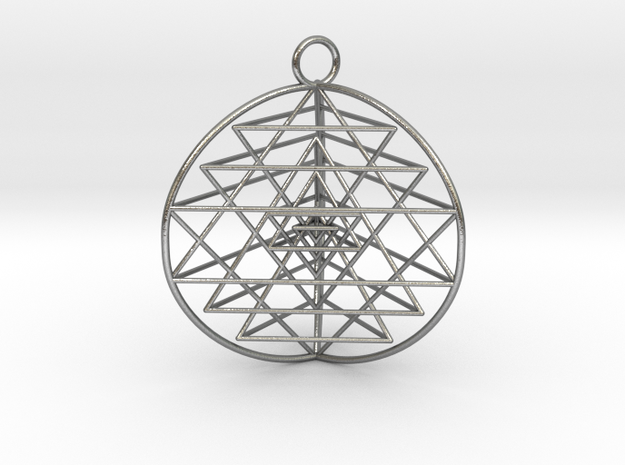 3D Sri Yantra version 3 in Raw Silver
