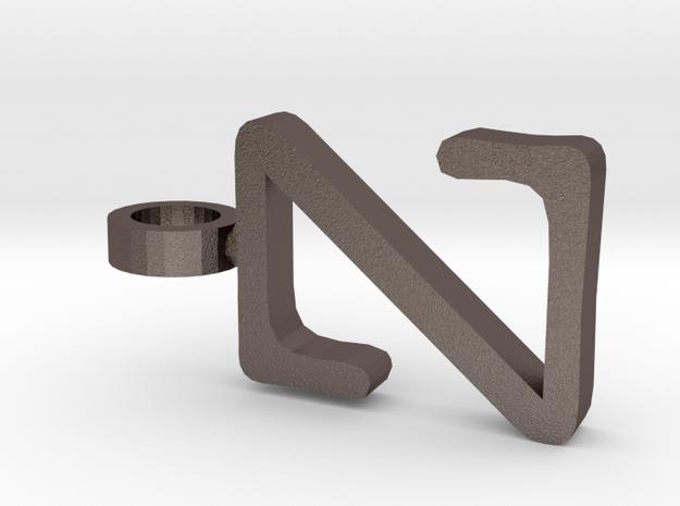 Z Letter Pendant in Polished Bronzed Silver Steel
