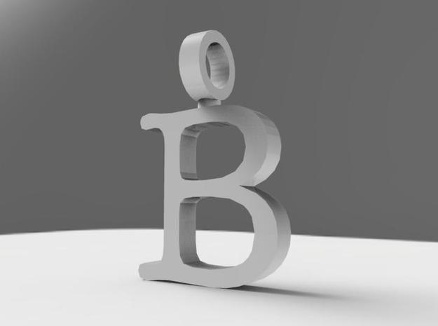 B Letter Pendant in Polished Bronzed Silver Steel