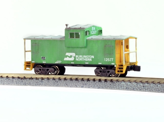 Widevision Caboose - Zscale 3d printed Customized, Painted and Weathered by Mike Skibbe