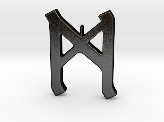 Rune Pendant - Mann in Matte Black Steel