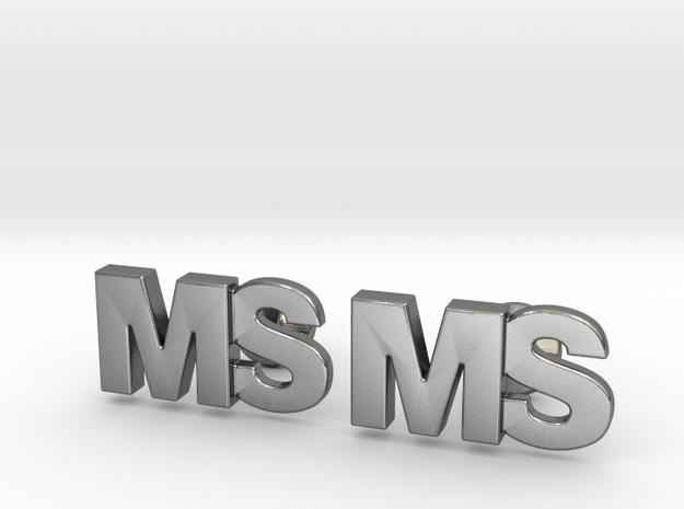 Monogram Cufflinks MS in Polished Silver