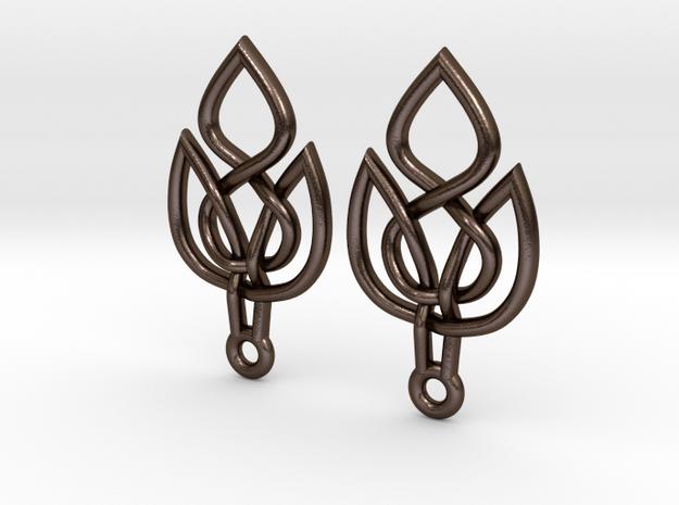 Celtic Knot Leaf Earrings in Polished Bronze Steel