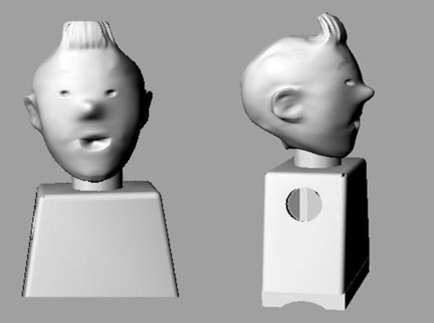 tintin 's head for minibricks 3d printed