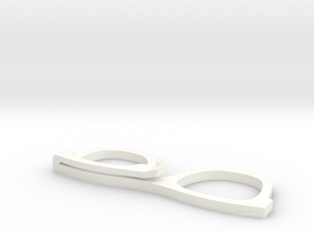 GLASSES HAIR CLIP in White Processed Versatile Plastic