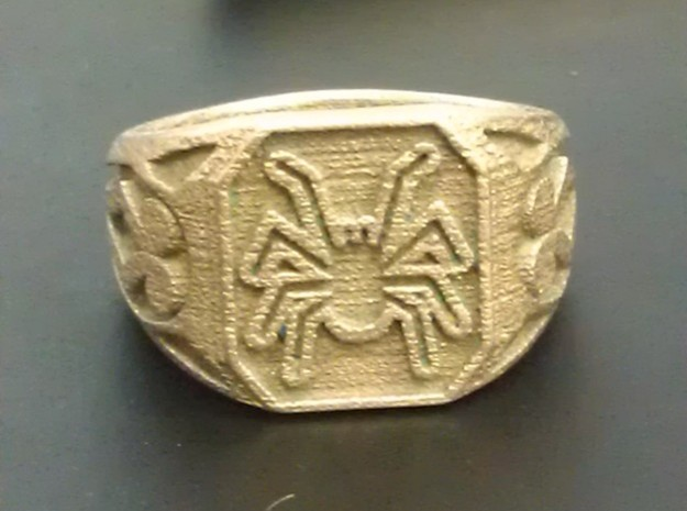 Spider Ring Size 7 in Polished Bronzed Silver Steel