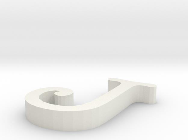 J Letter in White Natural Versatile Plastic