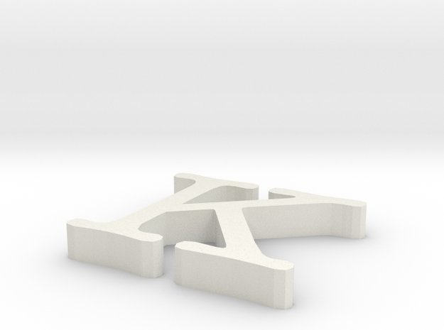 K Letter in White Natural Versatile Plastic