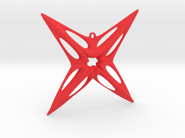 Star Pendant in Red Processed Versatile Plastic