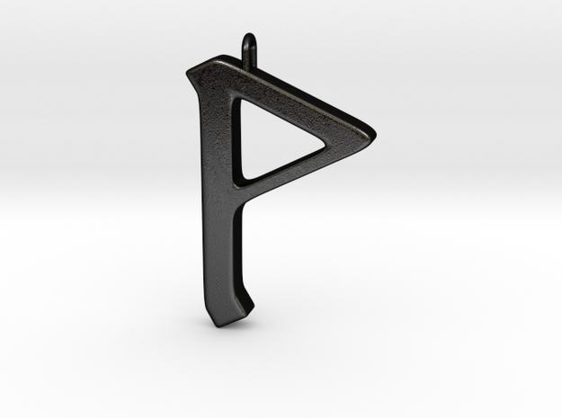 Rune Pendant - Wynn in Matte Black Steel
