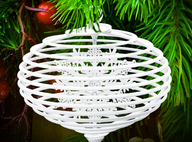 Spiral christmas ball with snowflake in White Processed Versatile Plastic