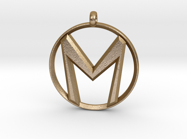 "The Letter ""M"" Pendant in Polished Gold Steel"