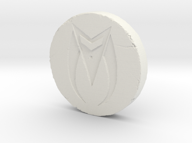 Zed Coin in White Natural Versatile Plastic
