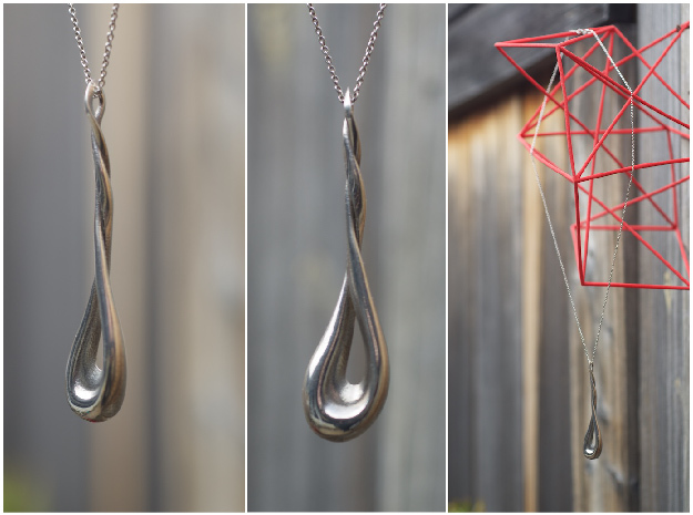 Twisting Pendant 3d printed Polished Silver Pendant with Silver Necklace Chain