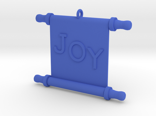 Ornament, Scroll, Joy in Blue Processed Versatile Plastic
