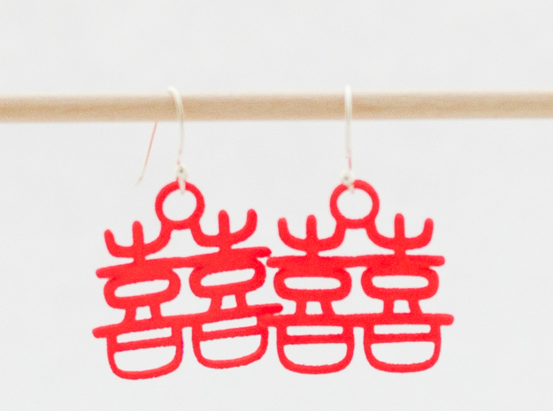 Double Happiness Earrings in Red Processed Versatile Plastic