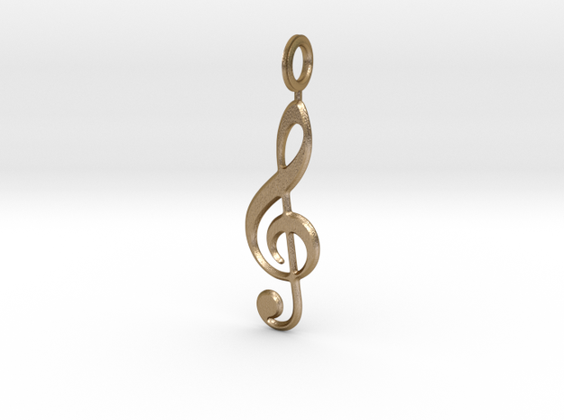 Music Note in Polished Gold Steel