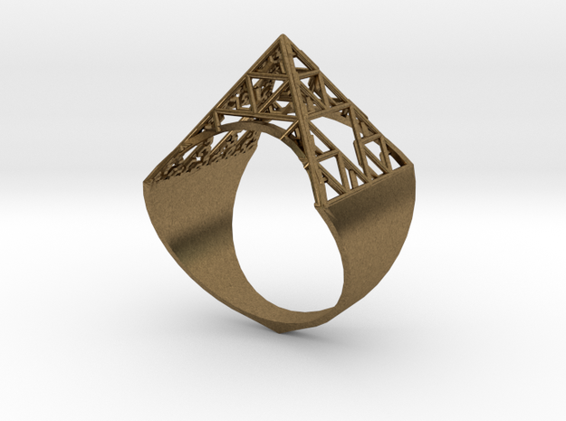 Sierpinski Pyramid Ring (feminine version) size 9 in Raw Bronze