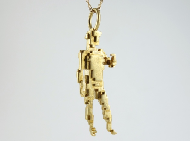 Digital David Pendant 3d printed Pixelated David in Polished Brass