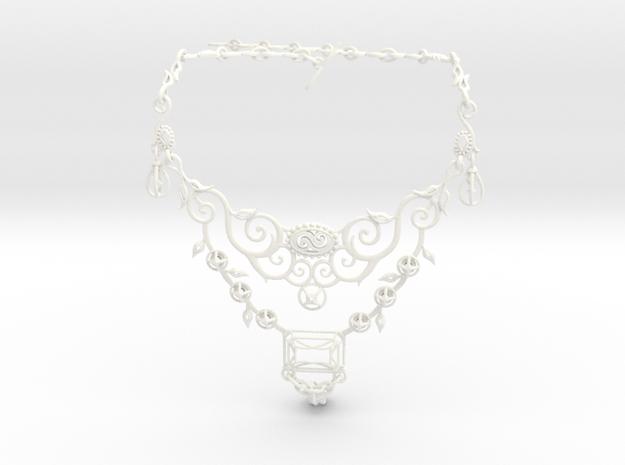 Eloquent Vines Necklace - Modern Elegance Series in White Processed Versatile Plastic