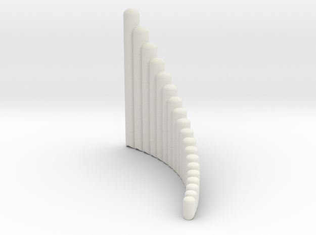"Right handed 19-tube ""Alto"" Panpipe in White Natural Versatile Plastic"