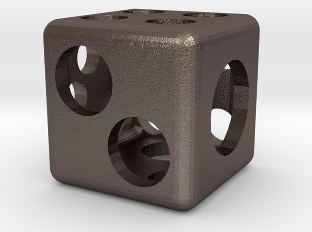 Hollow Six-sided Die (thick, round pips) in Stainless Steel
