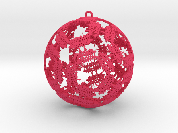 Double Happiness Ornament in Pink Processed Versatile Plastic