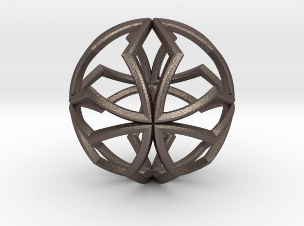 Sphere Pendant Z1 25mm in Polished Bronzed Silver Steel