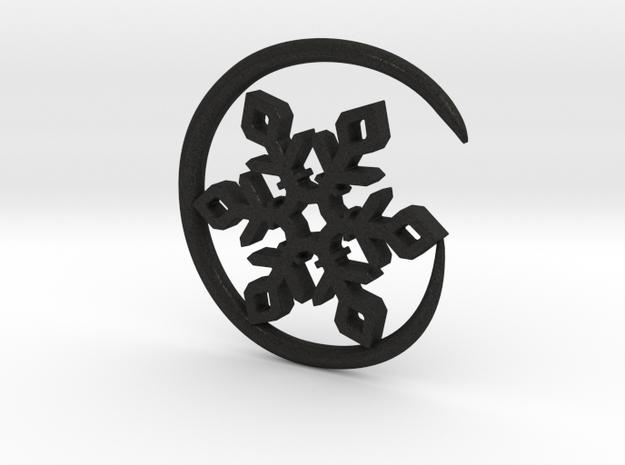 Earhook-Flake in Black Acrylic