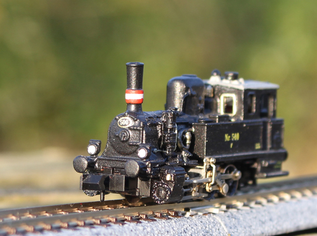 DSB F class N scale (funnel shaped extended tender in Raw Brass