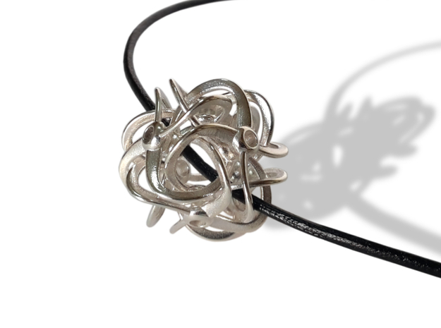 CYCLES pendant 3d printed Polished Silver